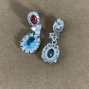 Gem Emporium Jewelry - Tourmaline, Aquamarine & Sapphire Dangle Earrings